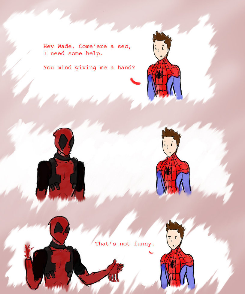 axellikestoast:  In which Peter doesn't appreciate Wade's dark sense of humor.  I'm sure someone's already done this joke, but what the hell I drew it anyway.  (Also I cannot draw hands)