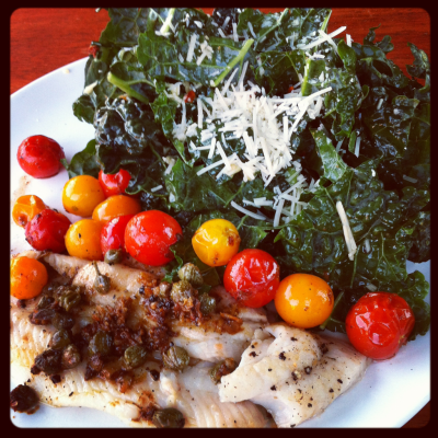Wild Pacific Dover sole piccata with burst garden cherry tomatoes and kale salad. Santa Fe Brewing Co. java imperial stout.