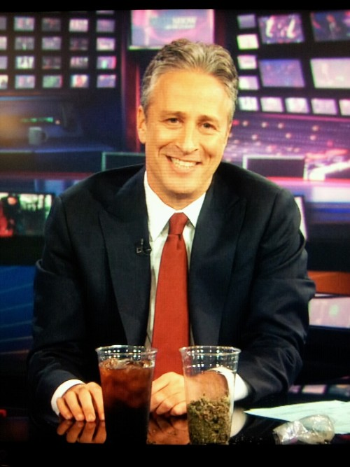 "inothernews:  Jon Stewart helpfully points out that under proposed New York City and State laws, ""This soda (more than 16 ounces) is twice as illegal as this much weed (a single ounce).""  To be honest, I'd prefer the weed be more legal. But yeah, making soda illegal is dumb. Just tax the shit out of it."