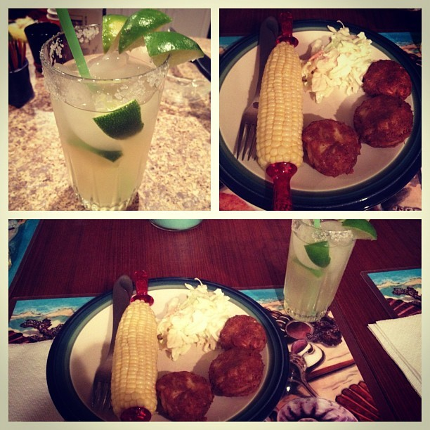 Margaritas and crabcakes. Love parents cooking. (Taken with Instagram at Colington Harbour)