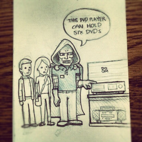 Doctor Doom working at Best Buy