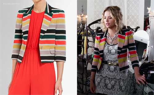 fashionofpll:  Though not exactly in Hanna's colors, it is the same jacket by the same designer. If my opinion counts for anything, it's still a great jacket in those colors.  BCBC Max Azria - Natalia cropped Jacket - $160.80   Jacket Envy! Amusingly, I actually recognised this jacket when watching PLL because I've spent so much time on the BCBG Max Azria website trying to identify things Emily has worn. Do I need to re-evaluate my life and my choices? Probably.