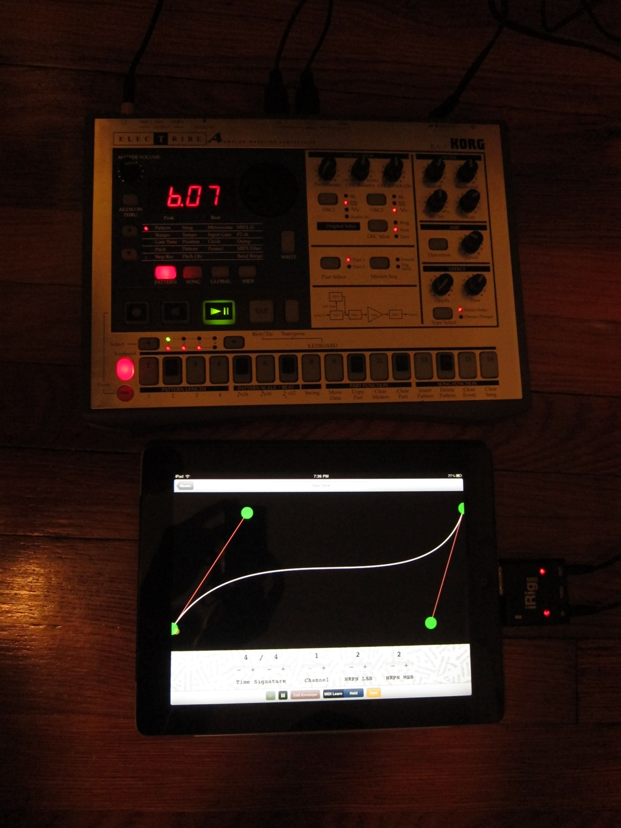 archive-chrislatina:  I built a MIDI function generator for the iOS. It overrides assignable NRPN signals (for older synths and drum machines like the EA-1 pictured) and applies looped envelopes from the touch-controlled cubic Hermite spline. Patches can be saved and edited and multiple patches can run simultaneously, applying the functions to multiple parameters on the synth at the same time.