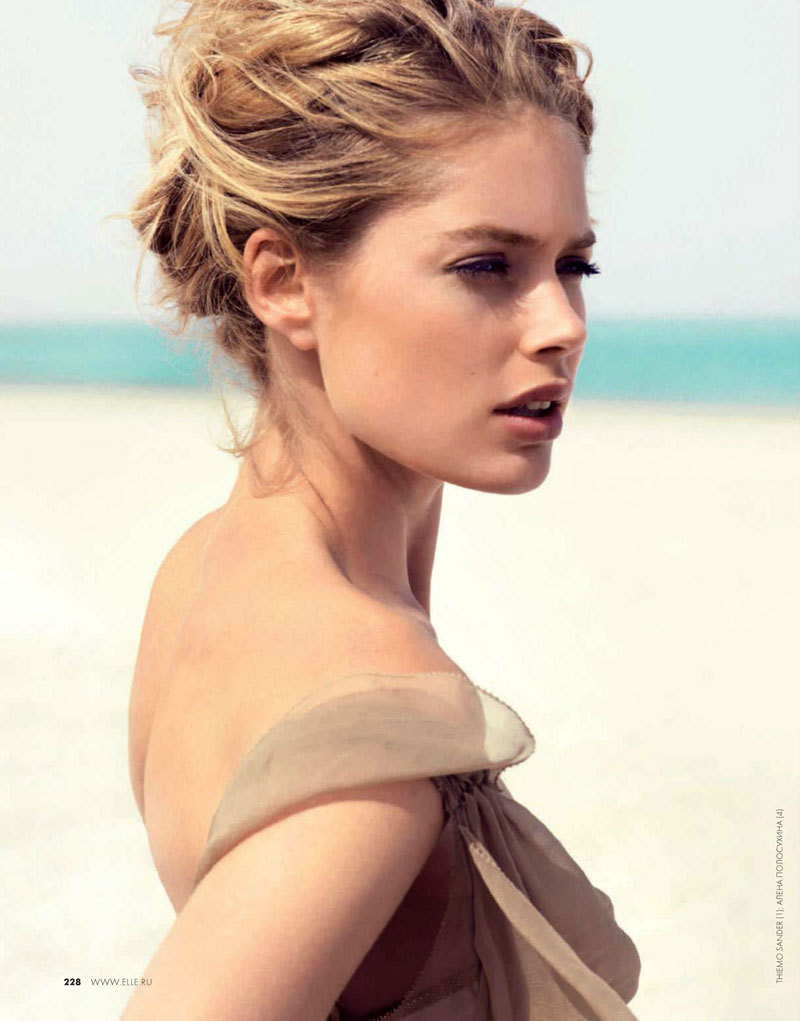 Doutzen Kroes Hits the Beach in Swimwear Looks for Elle Russia June 2012