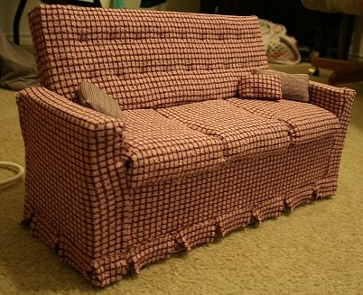 Tutorial for covering a couch made of boxes finished couch + before photo Tutorial: [Part 1] [Part 2] [Part3]