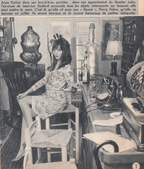 annakarinaorg:  Anna in her Paris apartment. From Ciné Revue 23, June 1967.