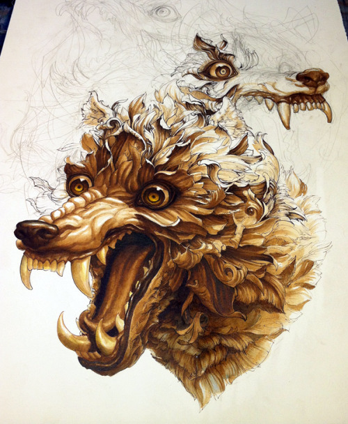 And as my eyes begin to bleed, I stop working on this for tonight.Cerberus: more progress, ink on paper.