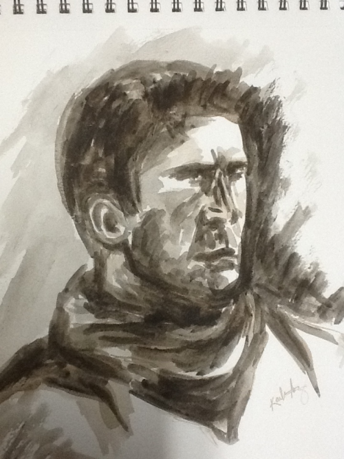 "Ink drawing/ ""painting"", Nathan Drake (india ink on watercolor pad)  *edit"