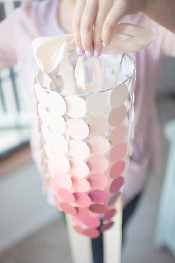 craftingitup:  Another neat idea using paint swatches!! What an adorable chandelier. Look for the how-to here.  From Hey Gorgeous.