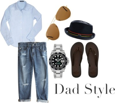 dad style by nessaswr featuring aviator shadesForzieri cotton blouse, $95AG Adriano Goldschmied ripped boyfriend jeans, $215Hollister Co. flip flop shoes, $30Rolex steel watch, $7,415Ray-Ban aviator shades, $198Armani Exchange hat, $38