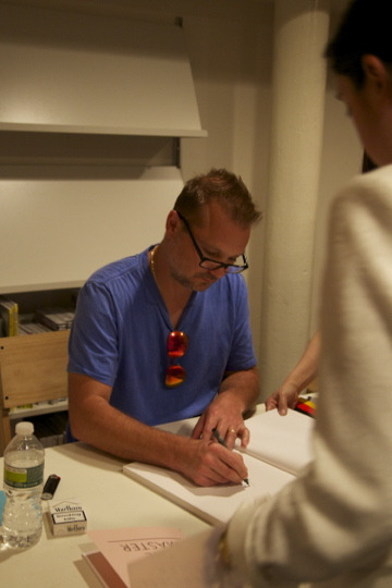 Juergen Teller at a book signing at Dashwood in New York, Wednesday 6 June.
