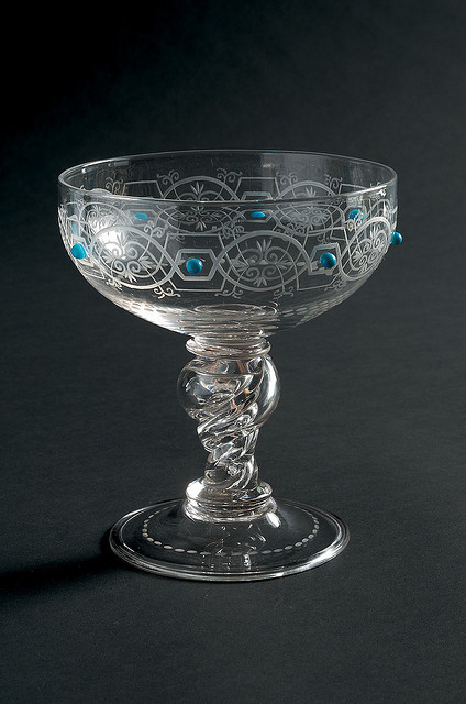 purrdywoman:  Glass goblet with turquoise studs,1880, ST142B by Black Country Museums on Flickr.