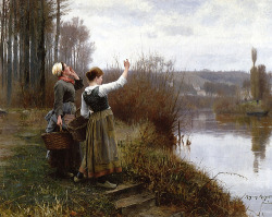 classic-art:  Hailing the Ferry, Daniel Ridgway Knight.