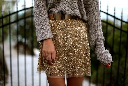 Sequins teamed with a winter knit {love, love, love}…
