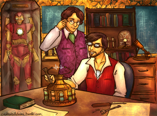 coattailsofdoom:  Steampunk Science Bros! That is, if this can be classed as steampunk. I feel like it needs more superfluous gears, and maybe some ladies in corsets. (It's okay, Tony's probably got some of those lying around the place.) Bruce what even are you wearing. I was fine with the purple waistcoat, but he INSISTED on the green tie. Also I'm not sure what the gadget is, but that's okay because it's probably going to explode in a minute. (Tony, this is a good time to be concentrating on what you are doing and not such a good time to be staring adoringly at your science life partner through your safety goggles. Then again, I'd stare too. THAT TIE.)