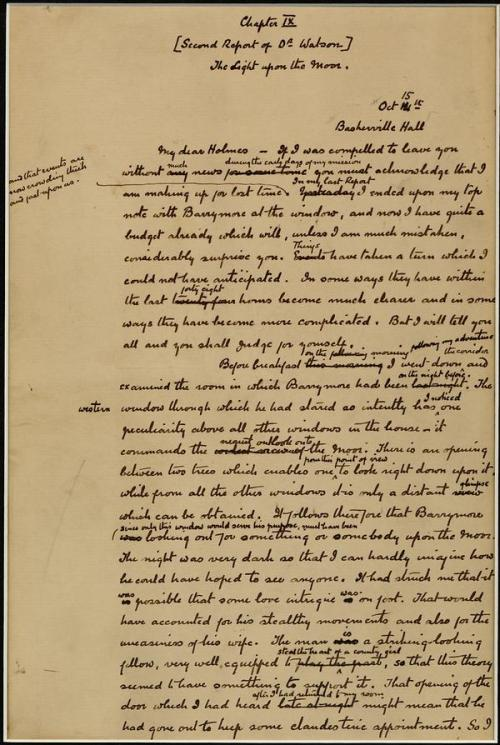 The Hound of the Baskervilles Original manuscript (with edits) First page of chapter nine. (click for larger image)