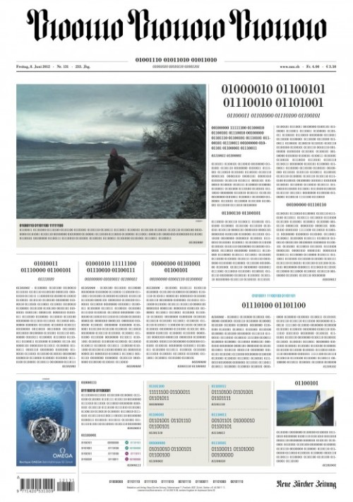 thenextweb:  (via Newspaper Celebrates Digitalisation, Prints Entire Front Page in Binary) [Flickr - Thomas Leuthard]