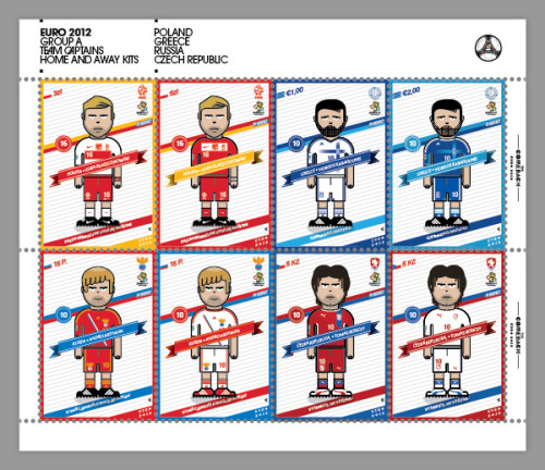 b-positive:  The Euro 2012 Project.Team captains on home and away kits. Placed on stamps via Behance Designed by the comeback