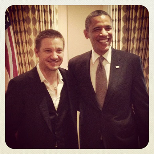 lostinprocrastination:  wecouldhavebeeninvenice:  Jeremy Renner meets President Obama   #it's so funny because they're both so happy #Jeremy's like omg the preseident! #and Obama's like omg Hawkeye!!