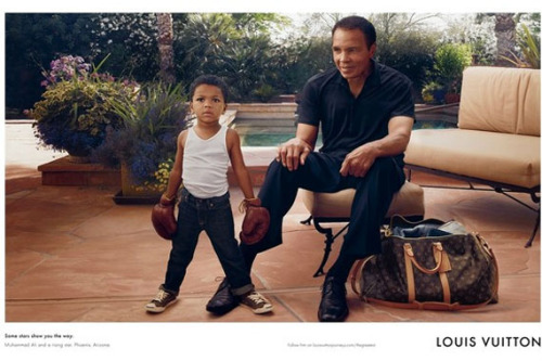 Muhammad Ali for Louis Vuitton Former boxer Muhammad Ali stars in the new Louis Vuitton print ad pictured with his grandson Curtis Muhammad Conway Jr