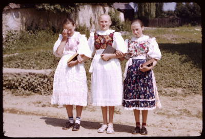folkthings:  Slovak women in peasant costume on Sunday morning, somewhere in the Tatra mountain region, Czechoslovakia, 13 July 1958. By huebner family photos on Flickr.  love everything about their outfits, especially the collars on their dresses