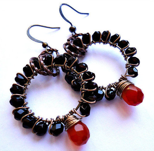 Black Wire Wrapped Earrings Hoops with Orange by BohemiaJewelry on We Heart It. http://weheartit.com/entry/30135609