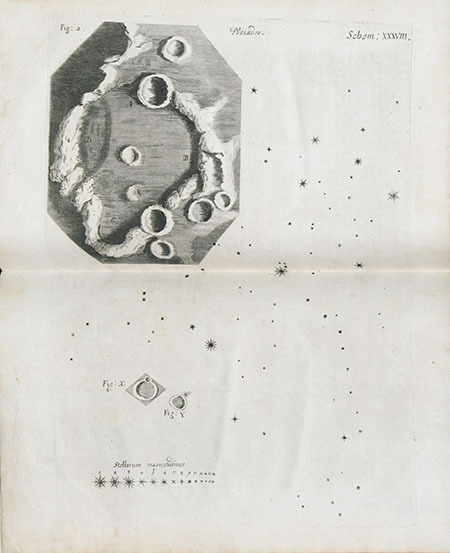Robert Hooke. Micrographia. This is the first representation of a limited area on the Moon's surface: the crater known as Hipparchus, which Hooke portrayed in an admirably realistic manner, pointing up the limits of earlier cartography.