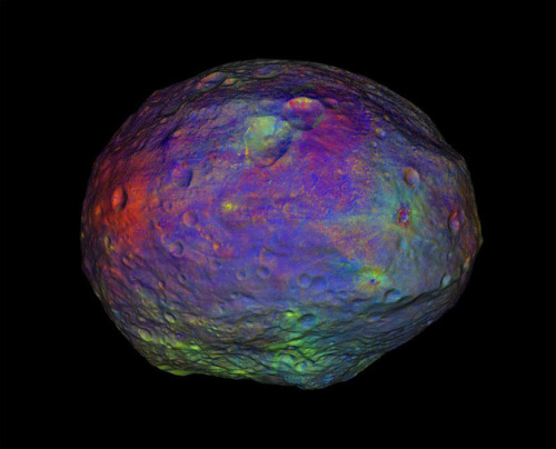 Protoplanet Vesta's Coat of Many Colors Vesta, the newly revealed protoplanet being studied by NASA's Dawn probe, is shrouded in a rich tapestry of minerals. No matter that the colors are too subtle for human eyes to discern. This visualization, released Wednesday, shows the mineral variations within the context of Vesta's topography. keep reading