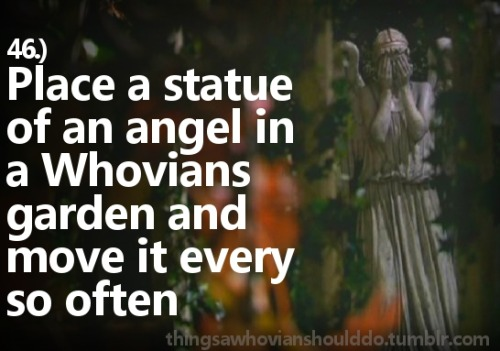 Things a Whovian should do: Buy a statue of an angel and put it in a fellow Whovians garden. Move it every so often. Submitted by: scifiandchai