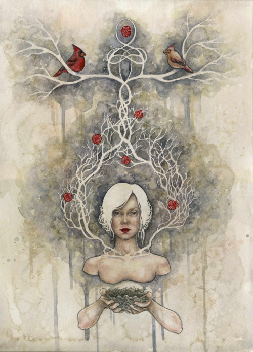 "darksilenceinsuburbia:  Kelly McKernan. Domicile, 2011. Watercolor, 12 x 16"". On Tumblr: http://kellymckernan.tumblr.com/"