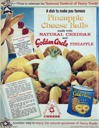 vivatvintage:  Pineapple cheese balls, 1961