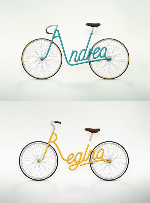 """Write a Bike"" is a serie of bike designs made by Juri Zaech, using the owners name as the frame design making every bike a personal item. Juri is a Swiss Art Director living in Paris and working in advertising. You could take a look at Juri Zaech website or visit his Behance profile to discover more of his work."