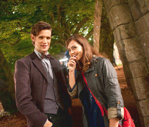 """Here's the first look at Matt Smith and Jenna-Louise Coleman on location. Geronimo! Jenna takes over as the Doctor's companion from this year's Christmas special when current companions Karen Gillan and Arthur Darvill (aka the Ponds) leave the show in a heartbreaking storyline in episode 5 of the new series which is set to return this autumn. Get your tissues at the ready…"" (x)"