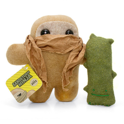 Ninja of the Month: Sandstorm Ninja Shawnimals' limited plushy ninja for the month of June is Sanstorm Ninja. The scarfed ninja comes with the normal bonuses like a card and pin, but he's also paired with his cactus friend, Sandy. Get one at Shawnimals' online shop for $30. Plushy Shai Hulud not included.