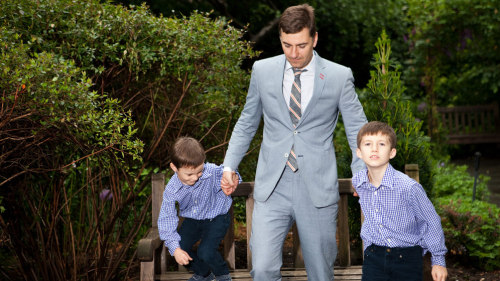 Investment banker and Park & Bond contributing editor Euan Rellie, with sons Heathcliff, 8 and Titus, 5.