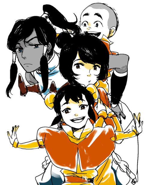 metalling-the-next-avatar:  Korra and Little airbenders by ~mariisle