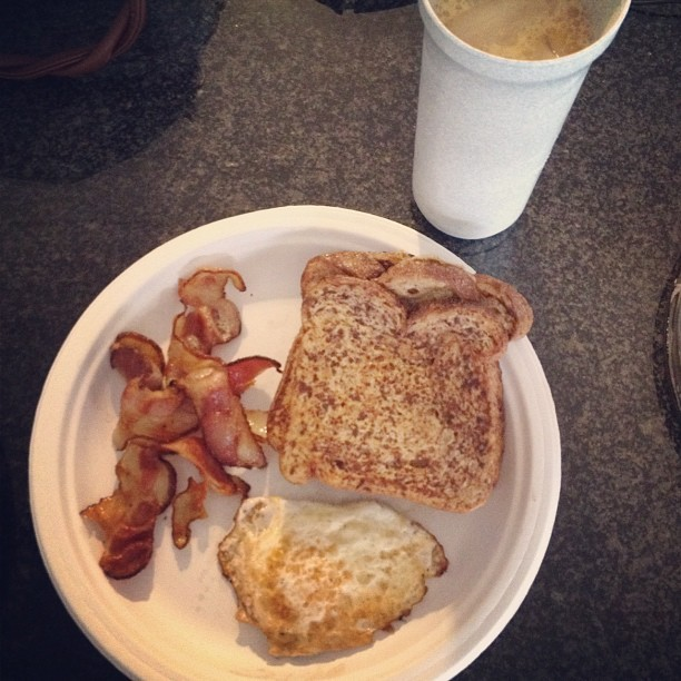 Not an ordinary French toast, eggs, and bacon. I used French Vanilla Coffe-Mate instead of milk AND the toast was cooked in the bacon grease. #FatKidFlow #breakfast #food #cook #nom #yum (Taken with Instagram)