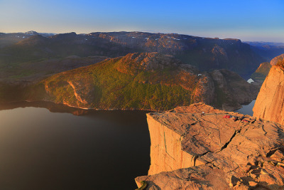 Preikestolen in morning sun (2) by jensvins on Flickr.