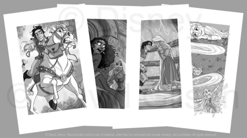"Rapunzel's Tale Illustrations WIP David Gilson | Digital, Graphite ""The second book on which I worked is a small novel without claim, telling the adventures of Rapunzel according to her point of view. This book is only available in English language. I am not the author of the cover but I carried out the illustrations in black and white which appear inside and through the story, jointly and under the indications from one of the major artists of Disney Publishing, Jean-Paul Orpinas.  Here you can see some of these illustrations on which I could preserve a bit of my own style and you can also see some first drafts of research.""Links to full-size: (Warning! David Gilson's website can be a little slow sometimes, but it's totally worth it) Rapz-Illustr1 