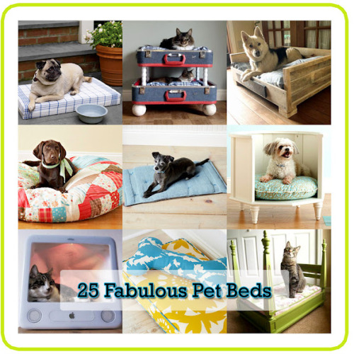 DIY Roundup of Twenty Five Pet Beds from The Cottage Market here. There are large photos for each of the beds with links. *First seen at Crafting Reblellion's web finds here.