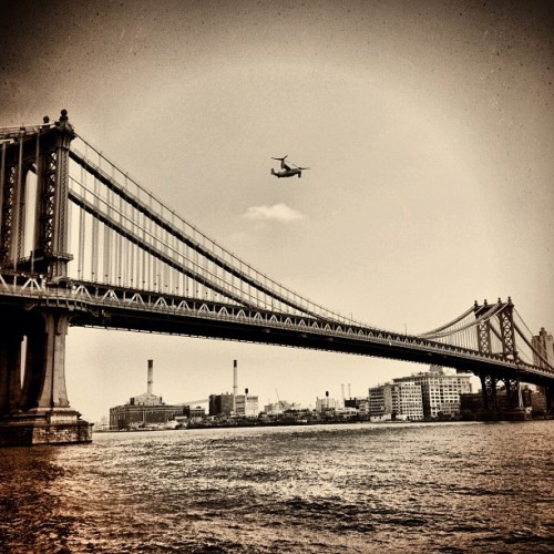 Army chopper over the Brooklyn Bridge (Taken with Instagram at Manhattan)