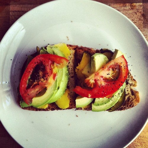 Toast. Butternut squash. Avo. Tomato. BAM.  (Taken with Instagram)