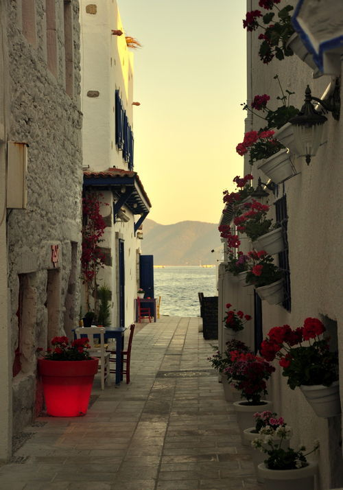 bluepueblo:  Walkway to the Sea, Santorini, Greece photo via delicate