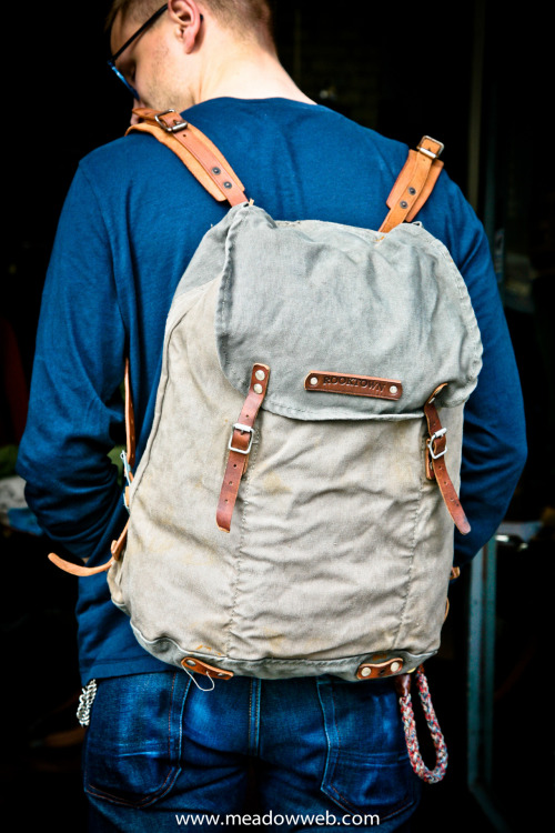Rooktown backpack. Materials from the 1940s swedish army. Made in Malmö, Sweden.Only to be found on meadowweb