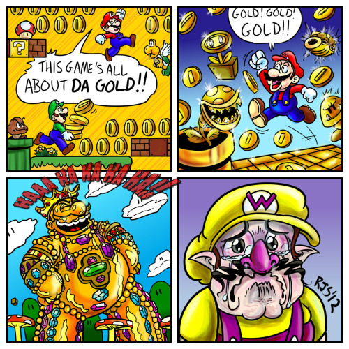 "tinycartridge:  The cruelty of New Super Mario Bros 2, a comic by Ryan Smith. Real talk, how is this a Mario game? Who but Wario should star in a game that gives players ""the power to monetize anything and everything in the world,"" as Treehouse's Nate Bihldorff beautifully put it. Preorder: New Super Mario Bros. 2 (August 19) Find: Nintendo DS/3DS release dates, discounts, & more See also: More New Super Mario Bros. news and media [Via Ryan Smith]   I like The Simpsons reference there in panel 3.  I'm hoping Wario is an extra character, but I'm not counting on it since no ""real"" Mario game has acknowledged Wario's existence since Super Mario Land 2."