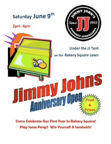 It's the 1 year anniversary of Jimmy Johns in Bakery Square THIS SATURDAY from 2-4pm! Join them as they celebrate with delicious sammies, drinks, games and prizes.