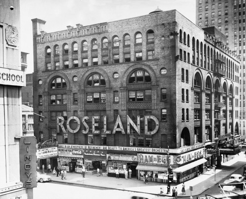 "Roseland Ballroom, New York City, circa 1950s. Love the ""Ham n Egg"" shop on the corner."