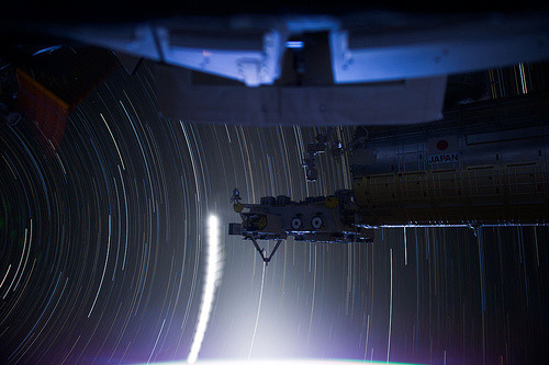 "ISS Star Trails:   Expedition 31 Flight Engineer Don Pettit relayed some information about photographic techniques used to achieve the images: ""My star trail images are made by taking a time exposure of about 10 to 15 minutes. However, with modern digital cameras, 30 seconds is about the longest exposure possible, due to electronic detector noise effectively snowing out the image. To achieve the longer exposures I do what many amateur astronomers do. I take multiple 30-second exposures, then 'stack' them using imaging software, thus producing the longer exposure."""