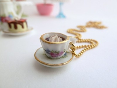 miniature cup of coffee charm necklace