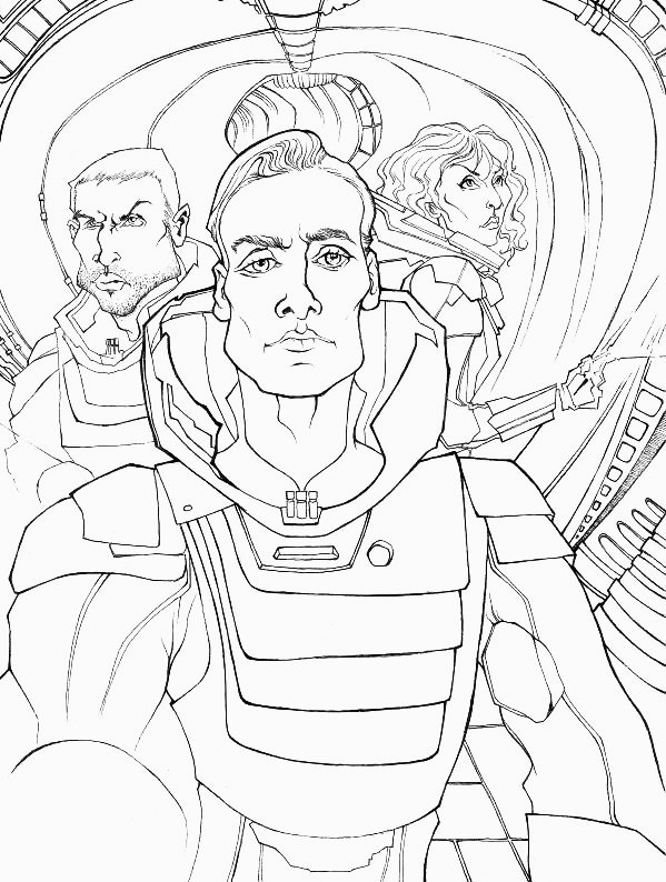 Precursor line drawing of new PROMETHEUS piece I've started, the colored version will be up soon. Hand drawn and inked by Christian Cimoroni.